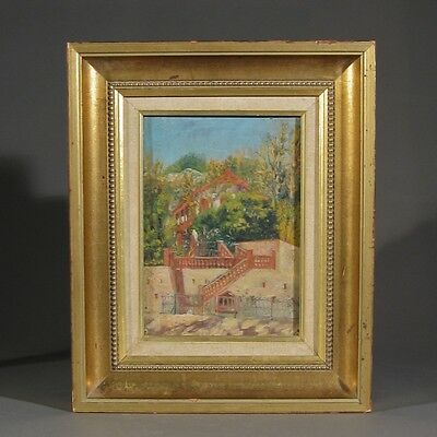 "Antique French Oil Painting, Frame, ""Villa with Red Stairs"", Arcachon Style"