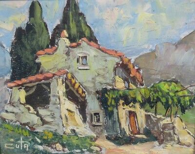 Vintage French Oil Painting, Farm in Provence, Cypress Trees, Vineyard, Signed