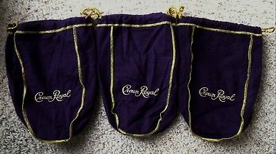 3 Pre-Owned Crown Royal Purple & Gold Felt Drawstring Bags