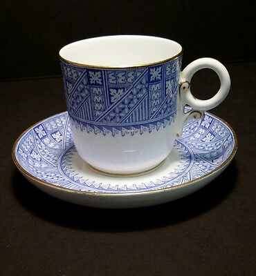 Royal Worcester Blue Aesthetic Pattern Demitasse Cup & Saucer c.1884