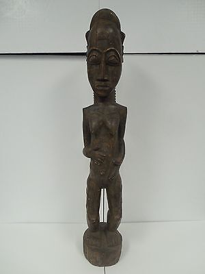 """Large African Baule Blolo Female Spouse Carved Statue with Scarification 33"""""""