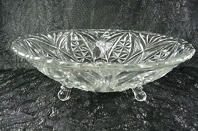 """Beautiful Vintage Clear Cut Glass Bowl Footed Fans Stars 9"""""""