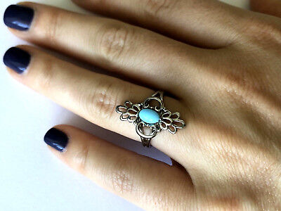 Silver Plated Oval Faux Turquoise Ladies Fashion Ring Adjustable Size 6