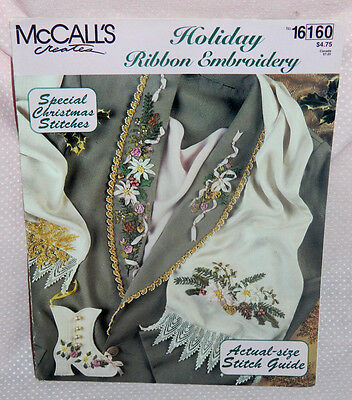 McCalls Creates Holiday Ribbon Embroidery Pattern Leaflet Christmas Stitches
