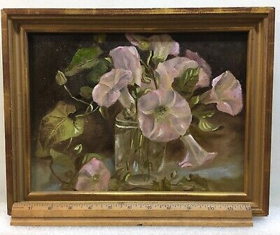 antique oil painting Floral On Academy Board 1890s With Beautiful Frame!