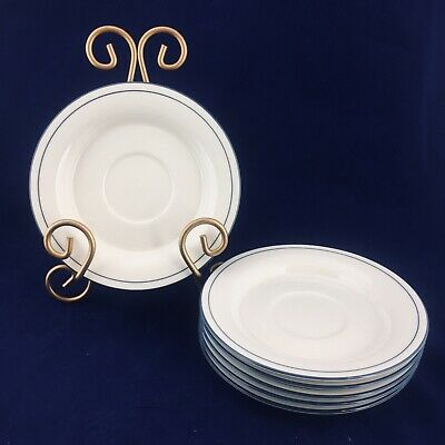 """6 LENOX Chinastone FOR THE BLUE PATTERN Blue Pinstripes 6.25"""" Saucers Plates"""