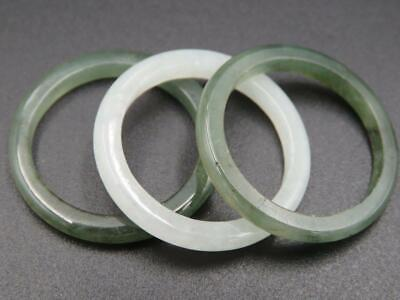 Set of 3 Genuine Green Jade 3mm Continuous Rounded Band Stackable Rings Sz 10