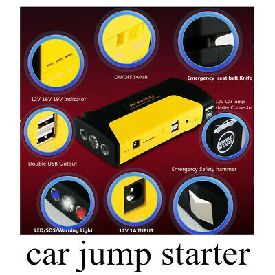 Car Jump Starter 2 USB Ports 12V for Car/Phone/Laptop Charger Power Bank Adapter