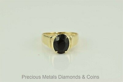 14k Yellow Gold 3ct Oval Faceted Black Quartz Cathedral Band Ring Sz: 7
