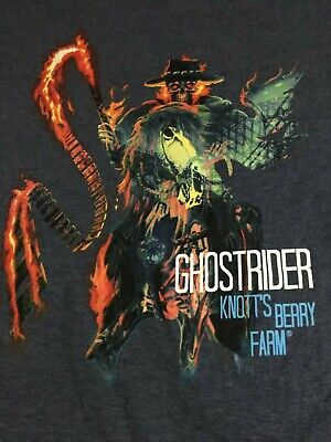Knotts Berry Farm Mens 3XL Gray T-Shirt Ghostrider 100% Cotton