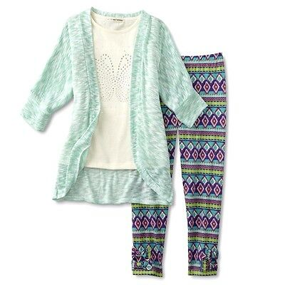 Self Esteem Girls 3 Pc Leggings Outfit 6 Tank Top Shirt Cardigan NWT Retail $36