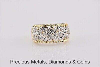 14k Yellow & White Gold .50TCW Diamond Accented Flowers Band Ring Sz: 7.75