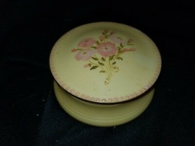 Vintage Bakelite or Celluloid Gold Yellow with Pink Flowers Powder Box (B)