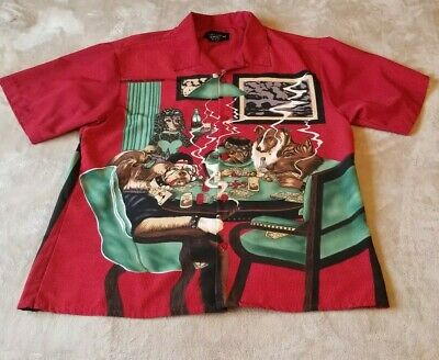No Boundaries Mens Red Hawaiian Camp Button Shirt LARGE red Dogs Poker Cigars