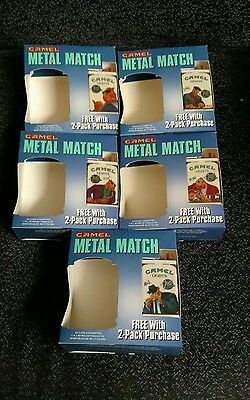 Lot of Five Camel Cigarettes Joe's Place Metal Match Eddie/Max/Floyd/Bustah/Joes
