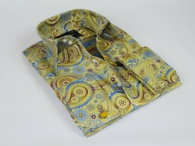 Men Manzini Shiny Stage Performer Paisley Shirt French Cuff mzt302 Purple Formal