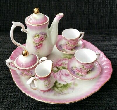 Vintage Miniature Tea Set Victoria's Garden  Lowell MA. 10 Pc Pink Roses