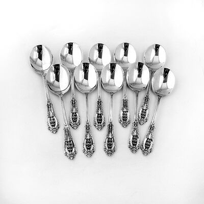 Rose Point Cream Soup Spoons 10 Sterling Silver Wallace 1934