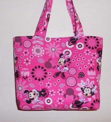 Handmade Minnie Mouse with Large Bow & Flowers Tote Purse Bag