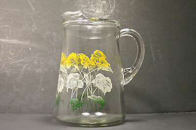 Vtg Clear Glass Pitcher Ice Lip Lilies Leaves Yellow Green White 3 Quart Unique
