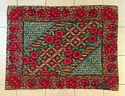"""Vintage 60"""" x 48"""" Horse Sleigh Carriage Buggy Lap Blanket Roses STROOK"""