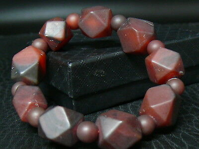 (eT003a) Tibet: Old  Beautiful Natural Hand Carved Agate  Beads   Bracelet