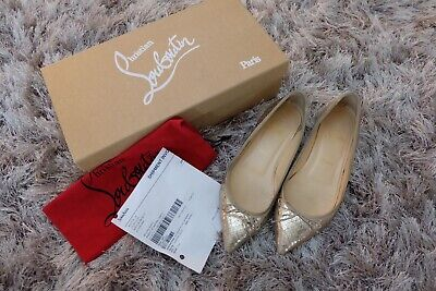 Christian Louboutin Solasofia Gold Snake Embossed Pointed Toe Flats 38 625 00