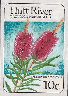 HR1/6) Hutt River Province 1986 Australian Wildflowers Original Artwork