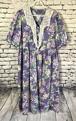 Vintage Laura Ashley Prairie Dress Floral Lace Collar Puff Sleeves Womens Size 8