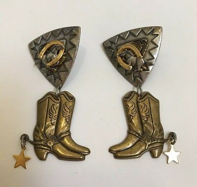 Western Earrings Silver And Gold Tone Unmarked Horse Boots Star Rodeo Cowgirl