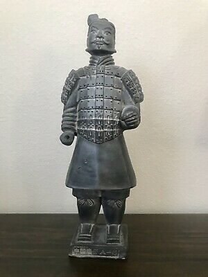 "CHINESE TERRACOTTA ANTIQUE EMPEROR WARRIOR SOLDIER STATUE Figurine 11"" w/box"