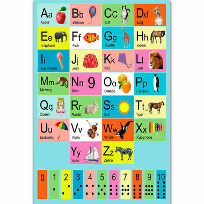 Hot My ABC Alphabet Yoga Pose Learning Table Kids Art Poster 12x18 24x36 T-1853