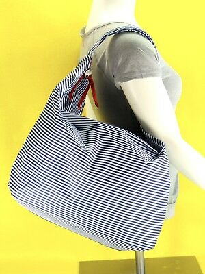 Lancome XL Striped Hobo Shoulder Tote Beach Bag Travel Shopper Blue & White NWOT