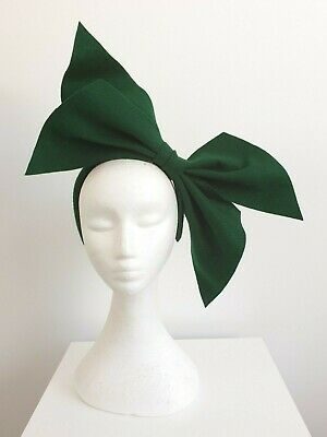 "Miss ""Green with Envy"" oversized felt bow headband fascinator in Green"
