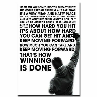 H622 Rocky Balboa Art Motivational Quote Canvas Fabric Poster