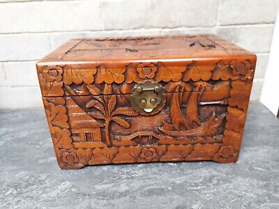 Carved Camphor Wood Miniature Chest