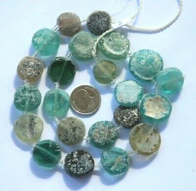 Ancient Roman Glass Old Round Beads Patina Strand Necklace Random 23 Pcs