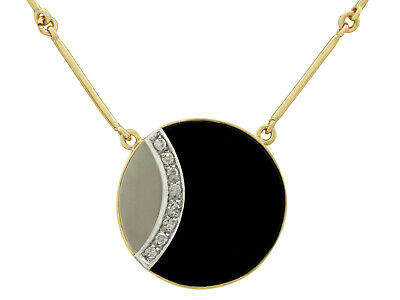 Vintage 1980s Black Onyx Mother of Pearl Diamond 18k Yellow Gold Necklace