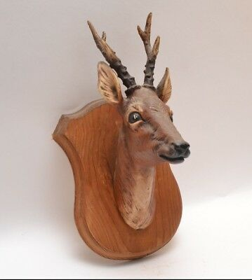 Mid Century 50s 60s Vintage Stag Head Wall Plaque a