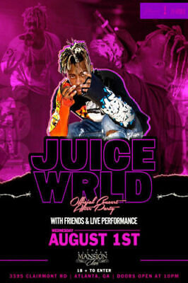 H877 Juice Wrld Pop Hip Hop Rapper Music Live World Tour 24x36 Art Poster