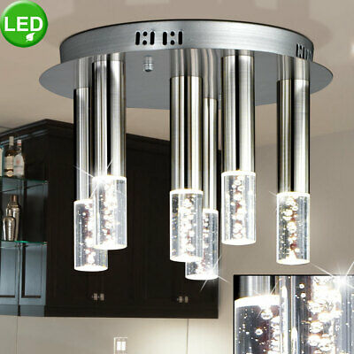 Luxury LED ceiling light sleep guests room glass air bubbles lamp silver round