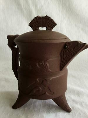 Vintage Signed Zisha Yixing Chinese Clay Pottery Footed Pot / Jug Dragon In Lid