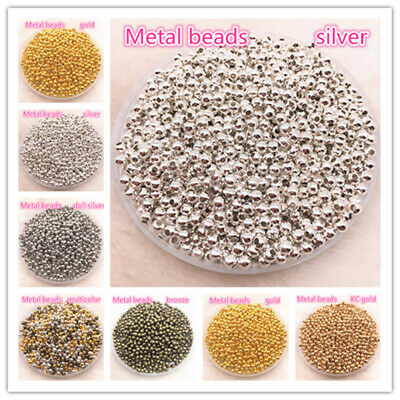 3-8mm Gold/Silver/Bronze Metal Beads Smooth Ball Spacer Beads For Jewelry Making
