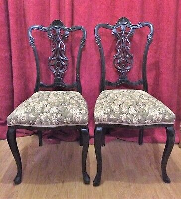 Pair Antique French carved Mahogany Bedroom hall chairs - So Pretty Shabby Chic!
