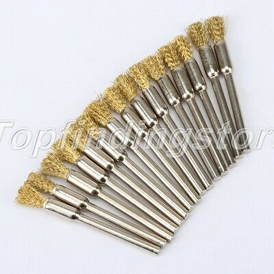 Rotary Brass Wire Wheel Brush Cup Tool Shank F/ Grinder Drill Rust Weld
