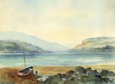 Louis Valentine, Coastal View with Figure on Beach -Mid-20th-century watercolour