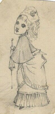 Albert A. Harcourt, Lady Caricature – Late 19th-century graphite drawing