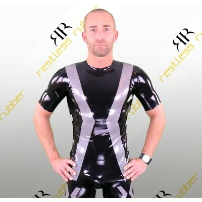 Latex Shirt Mr. X Herren schwarz silber-metallic NEU XS S M L XL XXL Rubber