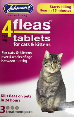 Flea Tablets For Cats & Kittens Starts Killing In 15 Minutes 3 Treatment Pack