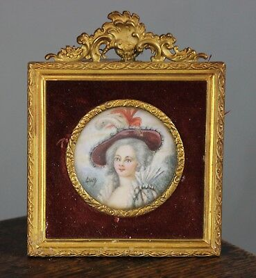 Miniature Portrait Painting Young Lady Signed Dolly